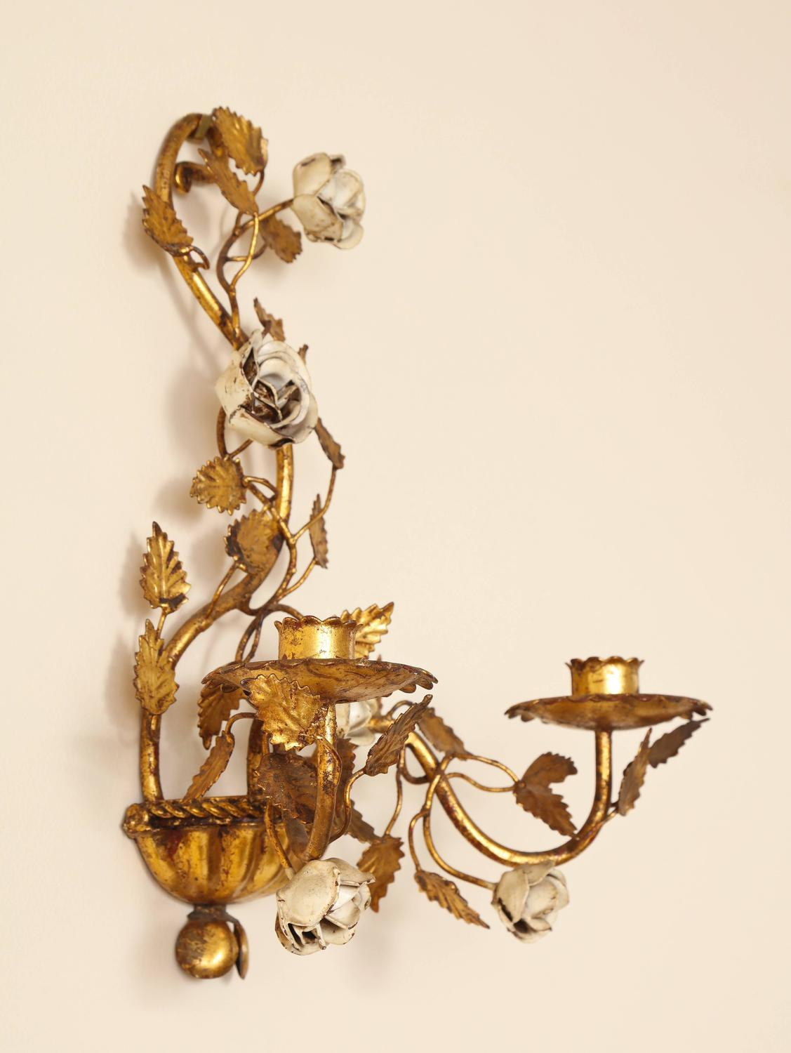 Italian Candle Wall Sconces : Pair of Italian Painted Floral and Gilt Metal Wall Sconces with Two Candle Arms For Sale at 1stdibs