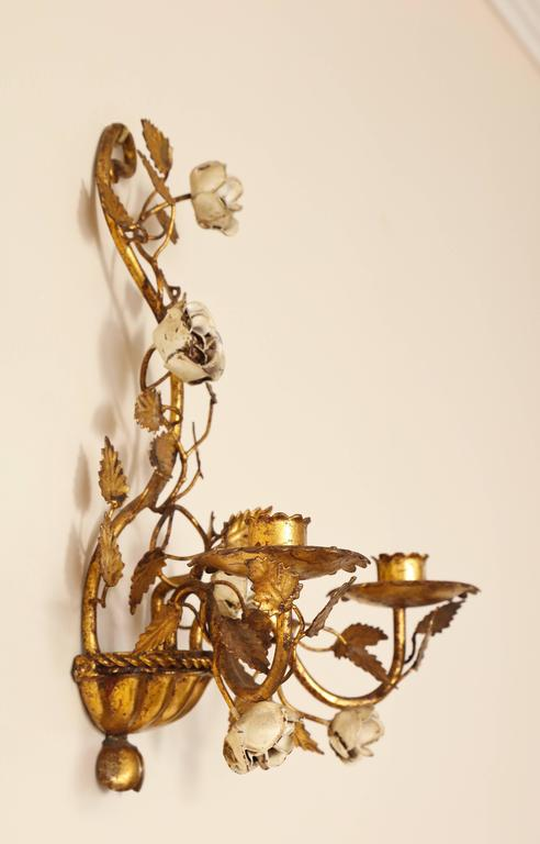 Pair of Italian Painted Floral and Gilt Metal Wall Sconces with Two Candle Arms In Excellent Condition For Sale In New York, NY