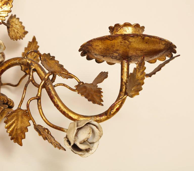 Pair of Italian Painted Floral and Gilt Metal Wall Sconces with Two Candle Arms For Sale 2