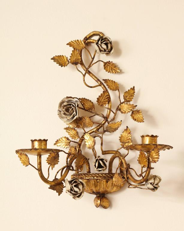Pair of Italian Painted Floral and Gilt Metal Wall Sconces with Two Candle Arms For Sale at 1stdibs
