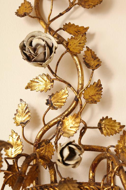 Pair of Italian Painted Floral and Gilt Metal Wall Sconces with Two Candle Arms For Sale 5