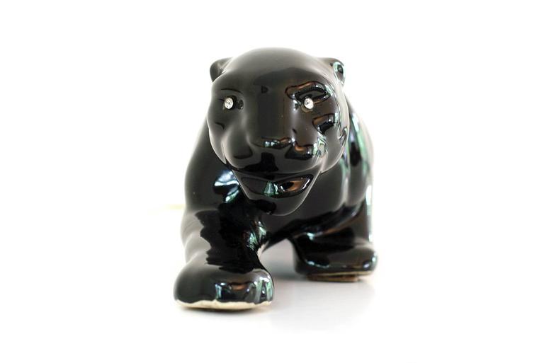 Mid-20th Century Vintage Mid-Century Modern Ceramic Black Panther Television Figurine Lamp