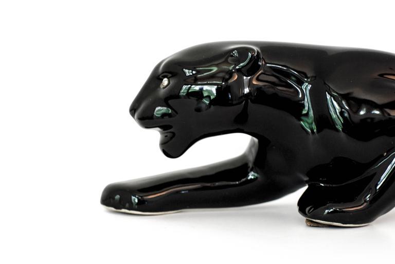 American Vintage Mid-Century Modern Ceramic Black Panther Television Figurine Lamp