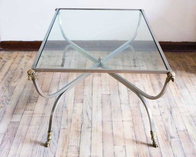 Mid Century Modern Italian Mid Century Steel And Brass Rectangular Coffee  Table, Rams