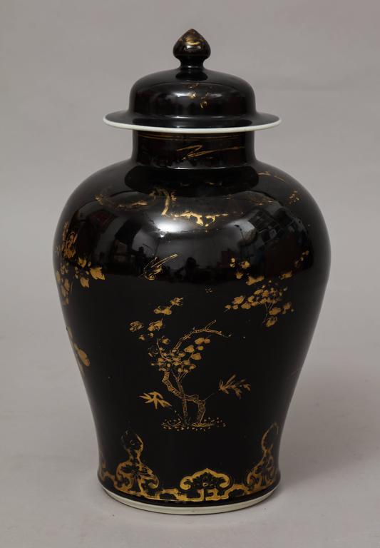 Chinese Kangxi Gilt Decorated Black Porcelain Vase With