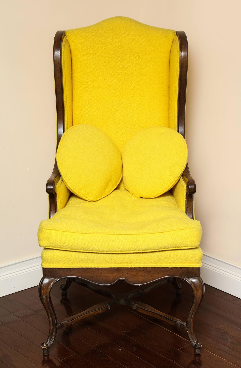 Vintage French Provincial Walnut Tall Back Wing Chair For
