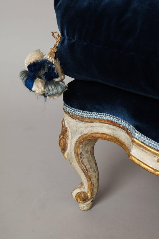 German Rococo Painted And Gilded Stool With Velvet Upholstery For Sale At 1stdibs