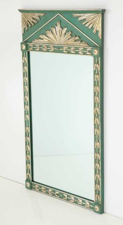 Art Deco Painted Mirror with Silver Gilt Decoration at 1stdibs