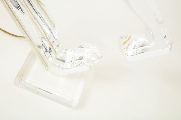 Lucite sculptural table lamp For Sale 2