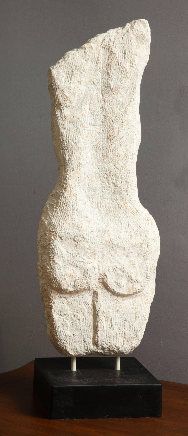 Cast Stone Modernist Stone Sculpture of a Female Nude Torso For Sale