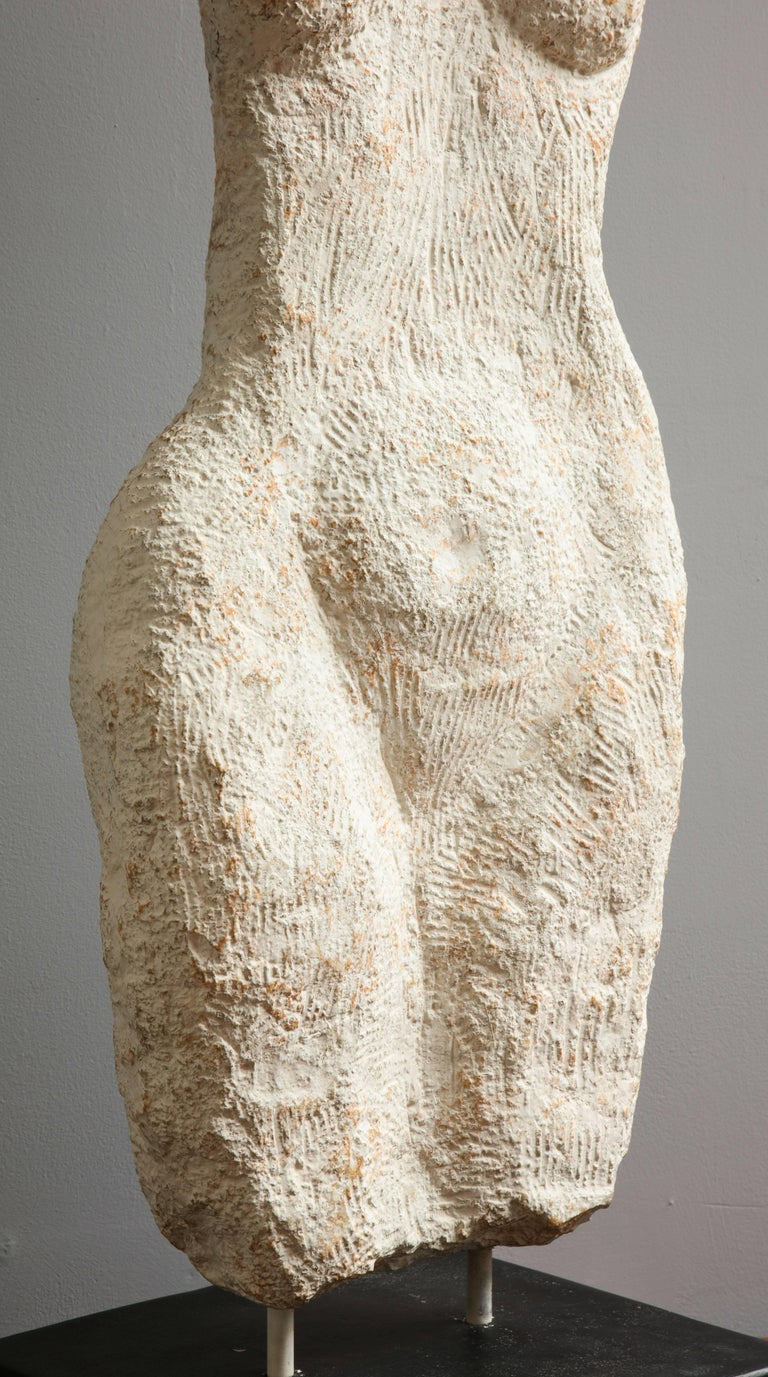 American Modernist Stone Sculpture of a Female Nude Torso For Sale