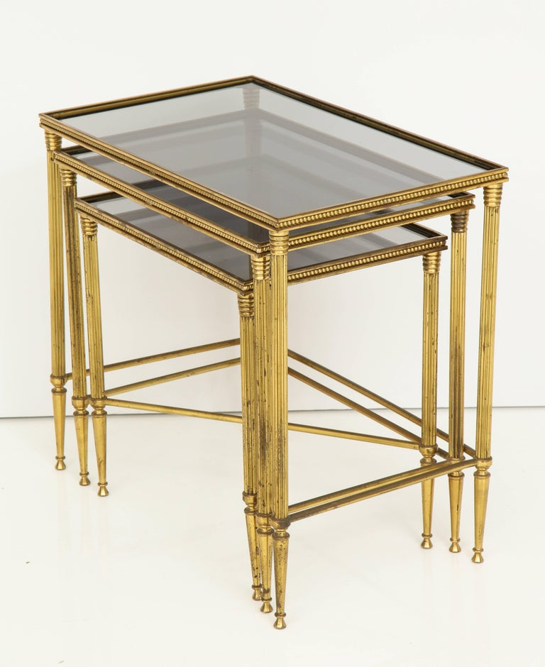 Italian Brass Nesting Tables With Inset Smoked Glass Tops For Sale At 1stdibs