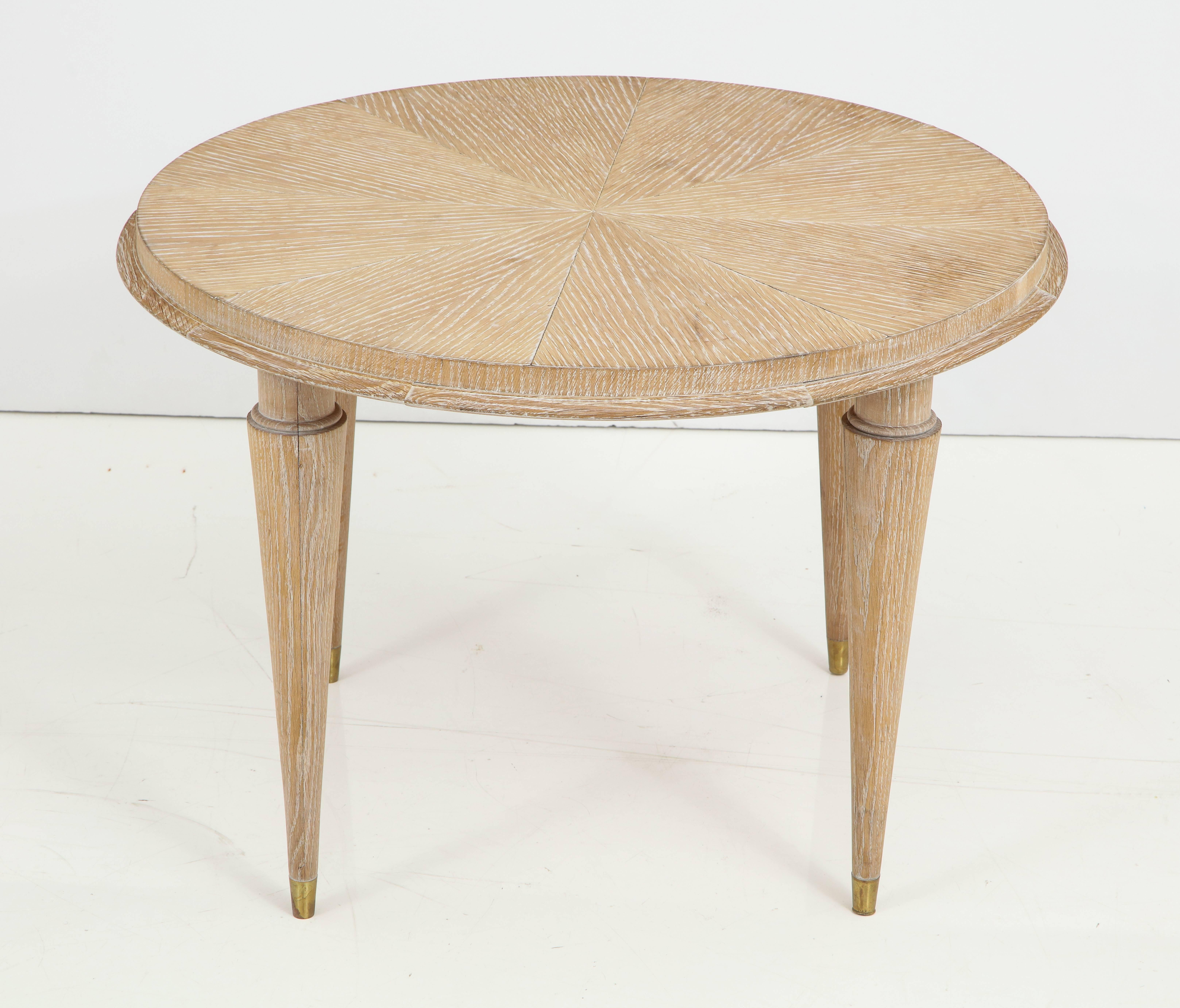 Mid Century Modern French Cerused Oak Round Cocktail Table Or Side Table  For Sale