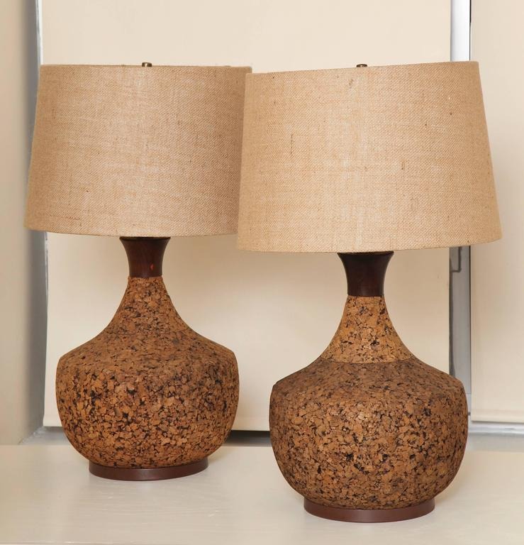 A Pair Of Mid Century Modern Cork Lamps, Each With A Brown Metal Base