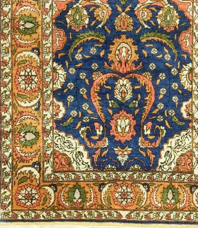 Hand-Knotted Vintage Turkish Silk Hereke For Sale