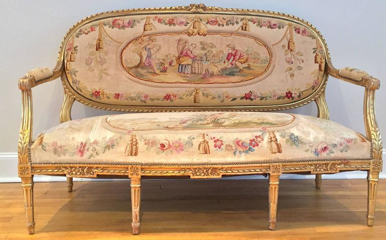 French giltwood and tapestry five piece salon suite louis for Salon louis 16