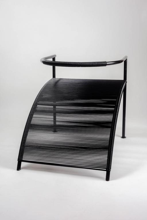 Sculptural Chair By Philippe Starck For XO Paris, Black Metal And Strings,  1980s For