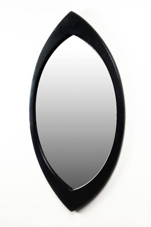 Swedish Mirror By Hans Agne Jakobsson With Black Oval Beveled Wood Frame 1950s In Excellent