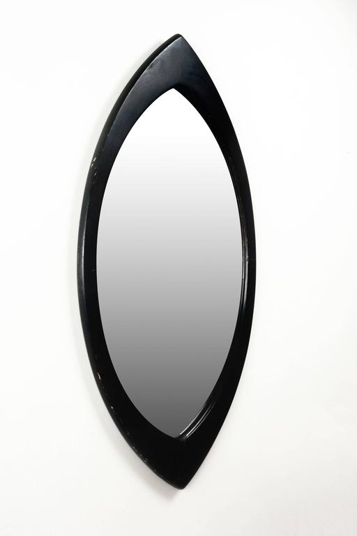 Minimalist Swedish Mirror By Hans Agne Jakobsson With Black Oval Beveled Wood Frame 1950s For