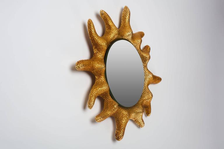 Gilt Bronze Sun Mirror by Stéphane Galerneau for Fondica, France, 1995 6