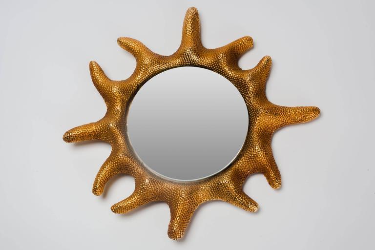 Gilt Bronze Sun Mirror by Stéphane Galerneau for Fondica, France, 1995 4