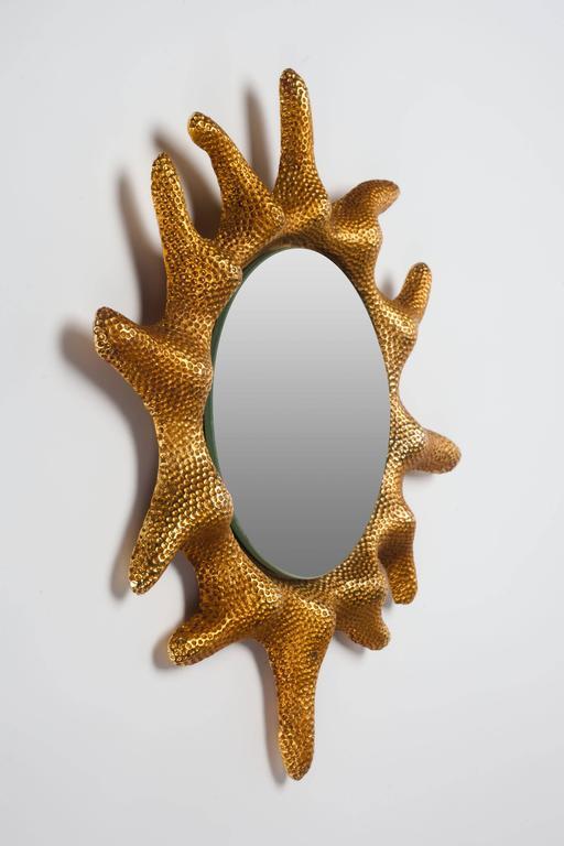 Gilt Bronze Sun Mirror by Stéphane Galerneau for Fondica, France, 1995 7