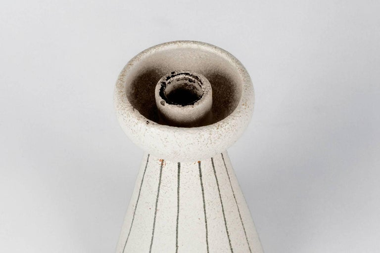 Mid-20th Century White Pottery Candleholder Made in Italy for Raymor, 1960s For Sale