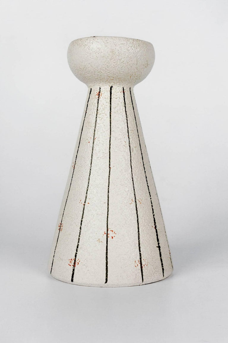 Mid-Century Modern White Pottery Candleholder Made in Italy for Raymor, 1960s For Sale