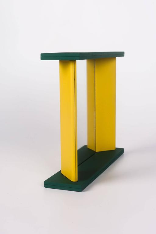 Japanese Memphis Green Yellow Table Mirror by Marco Zannini, 1990s For Sale