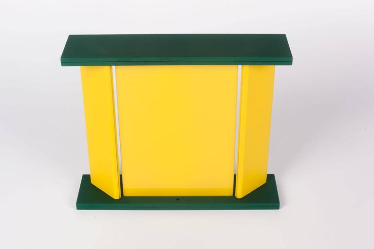 Post-Modern Memphis Green Yellow Table Mirror by Marco Zannini, 1990s For Sale