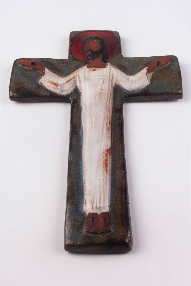 Wall Cross in Ceramic, Brown, Blue, White, Red, Handmade in Belgium, 1970s 3