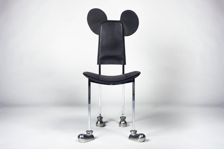 The Garriris chair, commonly called the Mickey chair, is an iconic postmodern design that Javier Mariscal made for his own brand, Akaba, in 1987. This year, 2018, celebrates the 90th anniversary of the Mickey Mouse character.   In the 1970s, before