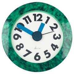 Memphis Clock, Green Marble Effect, du Pasquier and Sowden x Neos, Italy, 1980s