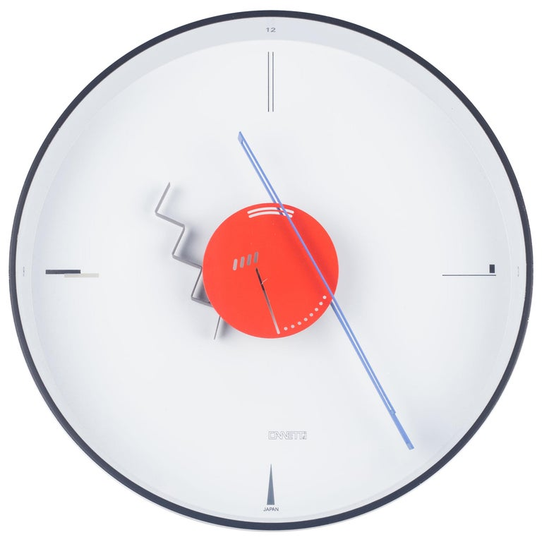 Postmodern Metal Wall Clock By Canetti Usa 1980s For Sale At 1stdibs