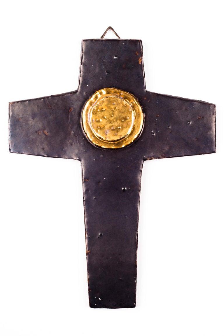 Wall Cross Brown Gold Medallion Ceramic Handmade In Belgium