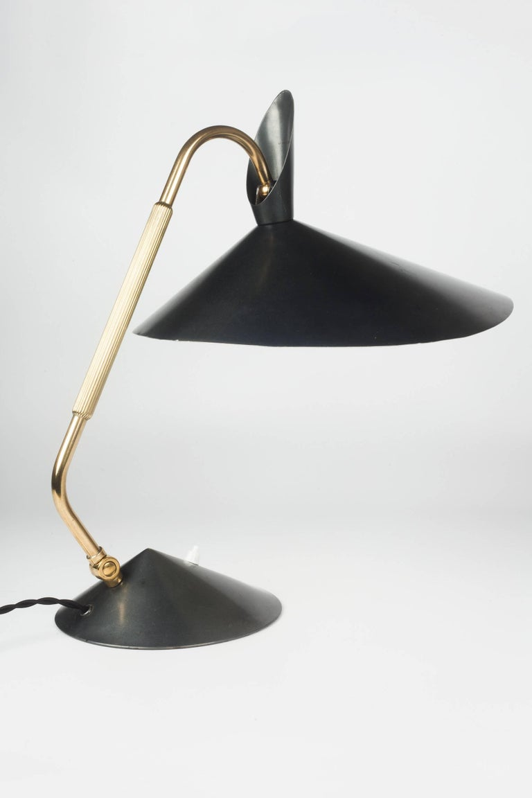 German Desk Lamp by Kaiser, Brass and Sculptural Grey ...