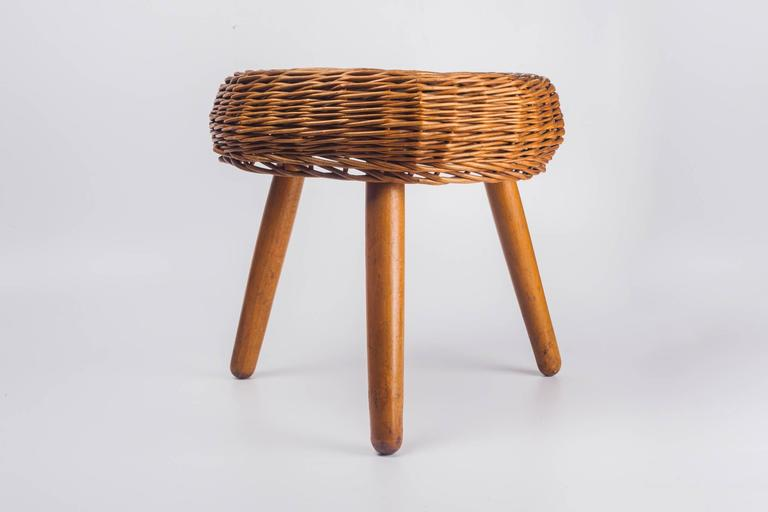 Wicker Tripod Stool In The Manner Of Tony Paul Usa 1950s