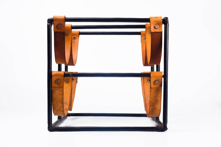 Vintage Wine Rack by Arthur Umanoff for Raymor in Leather Straps and Iron, 1950s 1