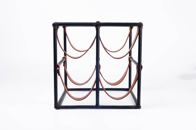 Vintage Wine Rack by Arthur Umanoff for Raymor in Leather Straps and Iron, 1950s 2