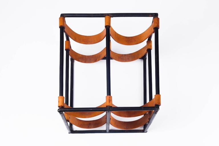 Vintage Wine Rack by Arthur Umanoff for Raymor in Leather Straps and Iron, 1950s In Good Condition In Chicago, IL