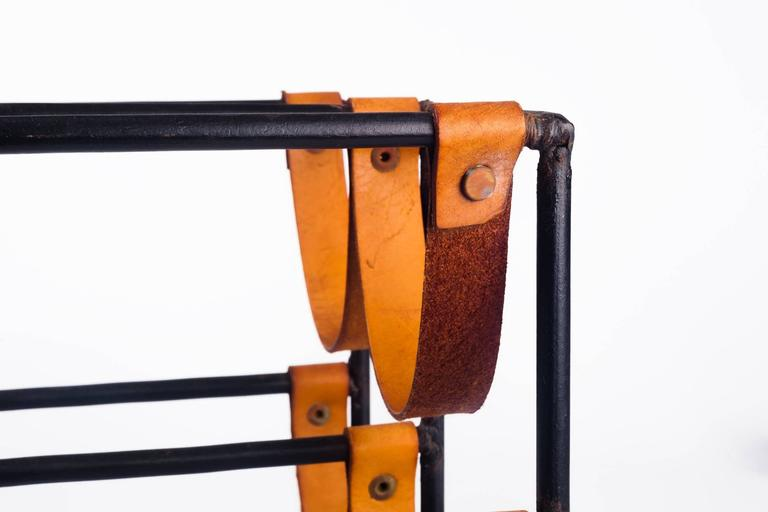 Adirondack Vintage Wine Rack by Arthur Umanoff for Raymor in Leather Straps and Iron, 1950s