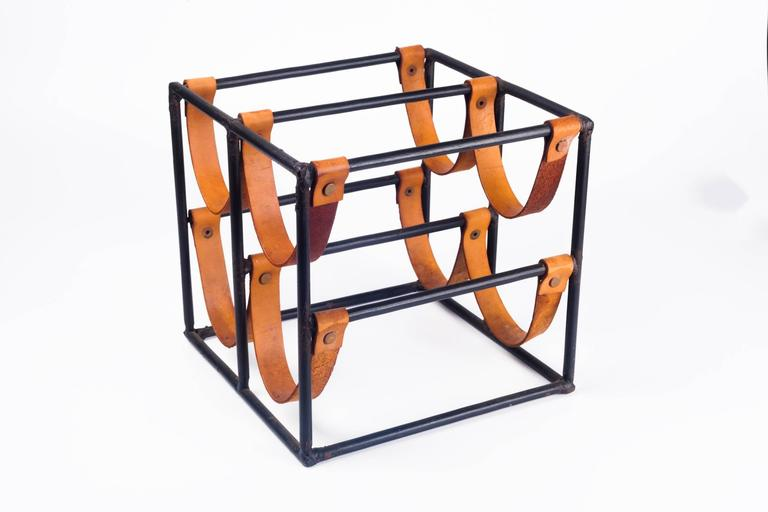 Vintage Wine Rack by Arthur Umanoff for Raymor in Leather Straps and Iron, 1950s 3