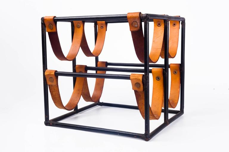 Mid-20th Century Vintage Wine Rack by Arthur Umanoff for Raymor in Leather Straps and Iron, 1950s