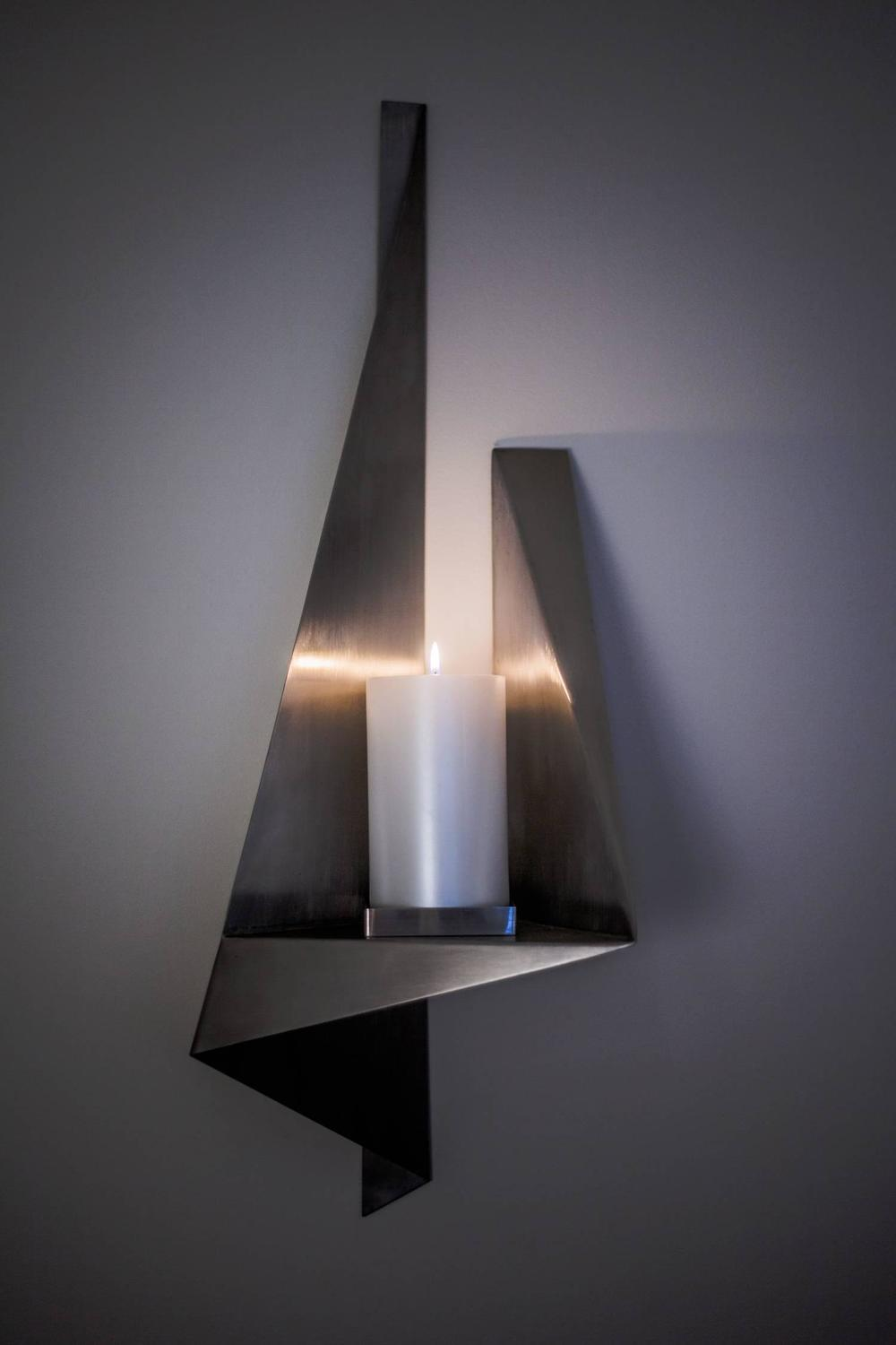 Large Wall Sconces With Candles : Large Candle Wall Sconce, Custom Stainless Steel, USA, 1970s For Sale at 1stdibs