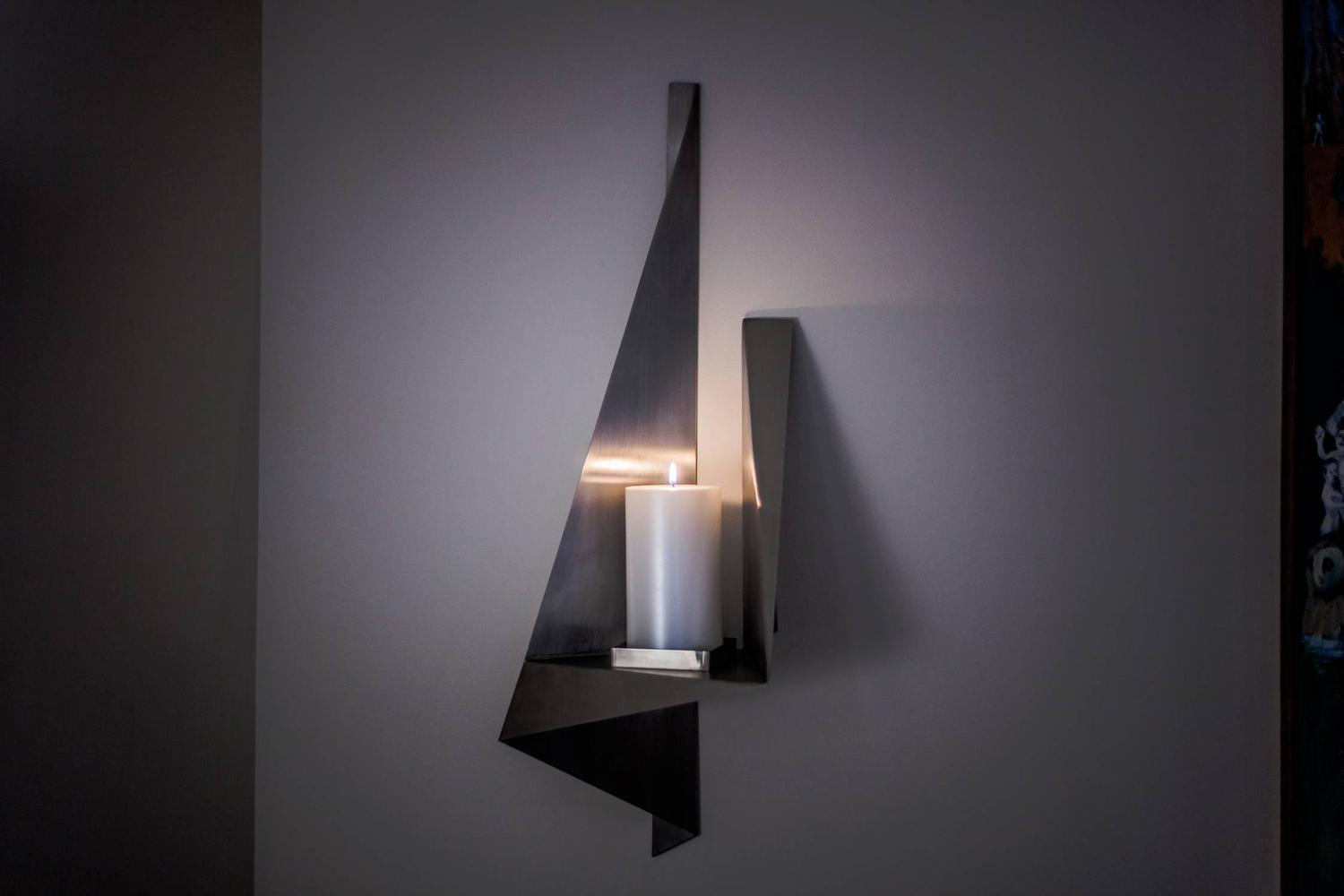 Unique Large Wall Sconces : Large Candle Wall Sconce, Custom Stainless Steel, USA, 1970s For Sale at 1stdibs