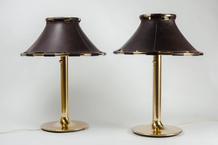 Pair of Large Swedish Lamps in Brass and Dark Brown Leather Shades 10