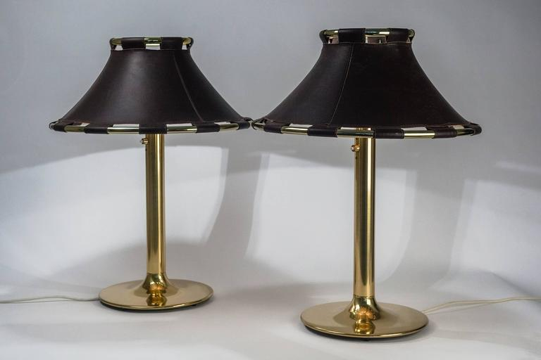 Pair of Large Swedish Lamps in Brass and Dark Brown Leather Shades 3