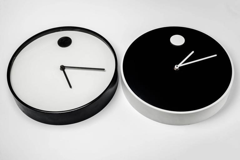 Wall Clock by George Horwitt for Howard Miller, Black, White Frame, 1970s 3