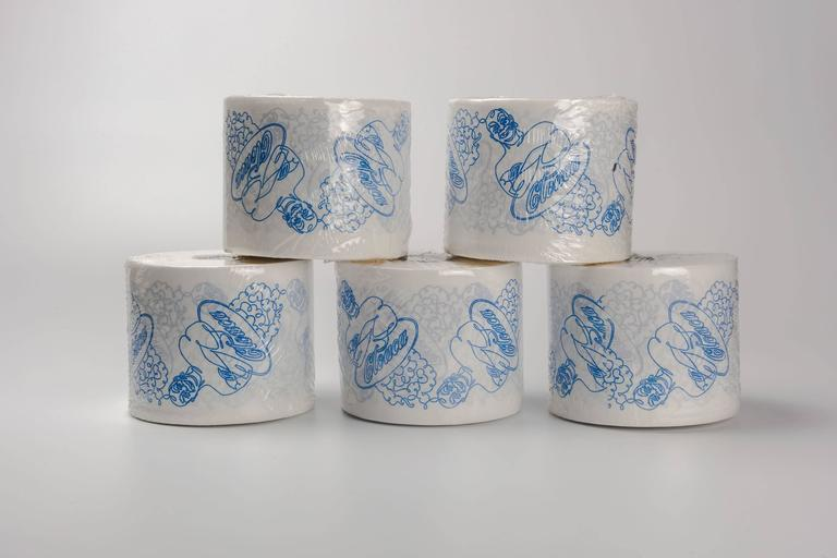 The Super Cloaca toilet paper rolls by Wim Delvoye were produced for the retrospective exhibition and world premiere of Super Cloaca at Mudam Luxembourg in 2007 and sold only during the exhibition at the Wim Shop. Rolls are white toilet paper with