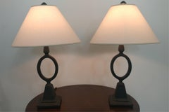 Pair of French Etruscan Style Forged Iron Table Lamps, Offered by LaPorte